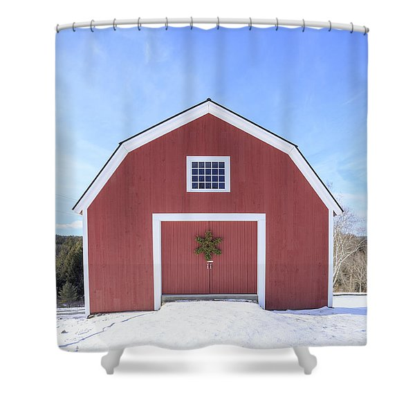 Traditional New England Red Barn In Winter Shower Curtain