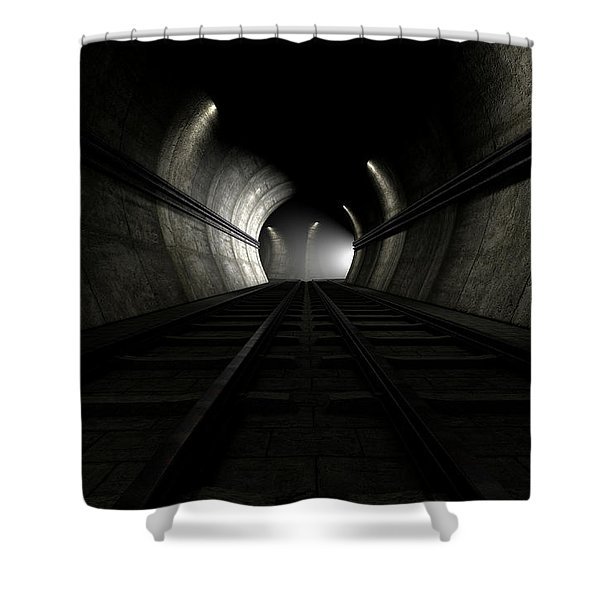 Train Tracks And Approaching Train Shower Curtain