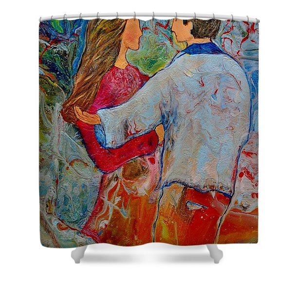 Shower Curtain featuring the painting Trusting You by Deborah Nell
