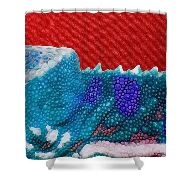 Turquoise Chameleon On Red Shower Curtain