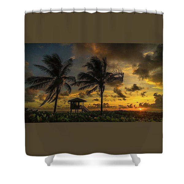 Two Palm Sunrise Delray Beach Florida Shower Curtain