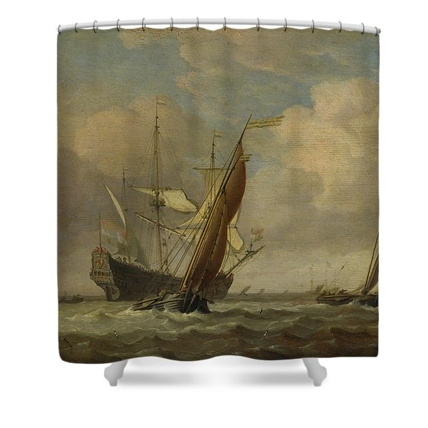 Two Small Vessels And A Dutch Man-of-war In A Breeze Shower Curtain