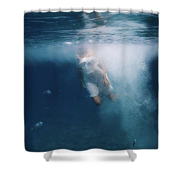 Underwater White Dress Shower Curtain