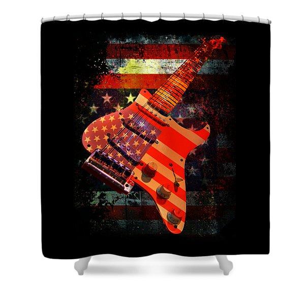Usa Strat Guitar Music Shower Curtain
