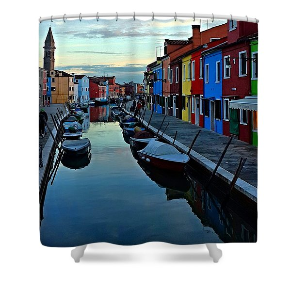 Venice Burano Shower Curtain