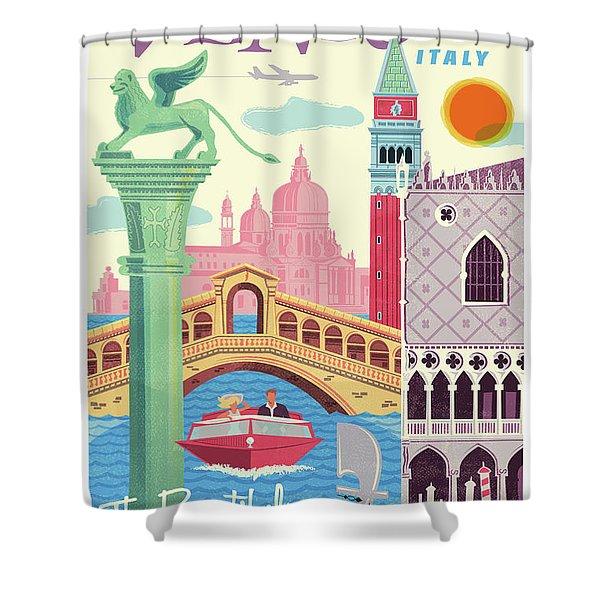 Venice Poster - Retro Travel  Shower Curtain