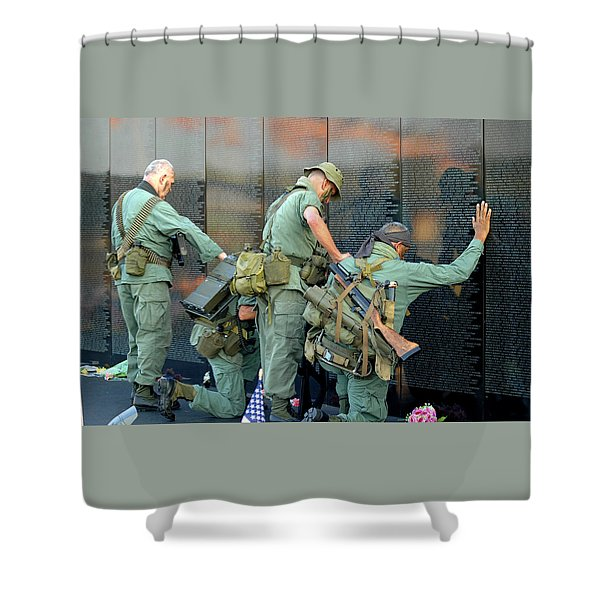 Shower Curtain featuring the photograph Veterans At Vietnam Wall by Carolyn Marshall