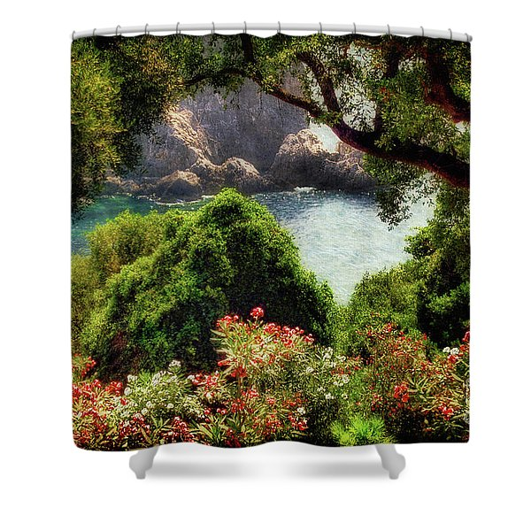 View From The Terrace - Paleokastritsa Shower Curtain by Lois Bryan
