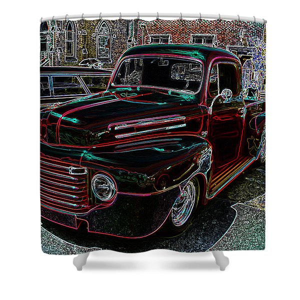 Vintage Chevy Truck Neon Art Shower Curtain