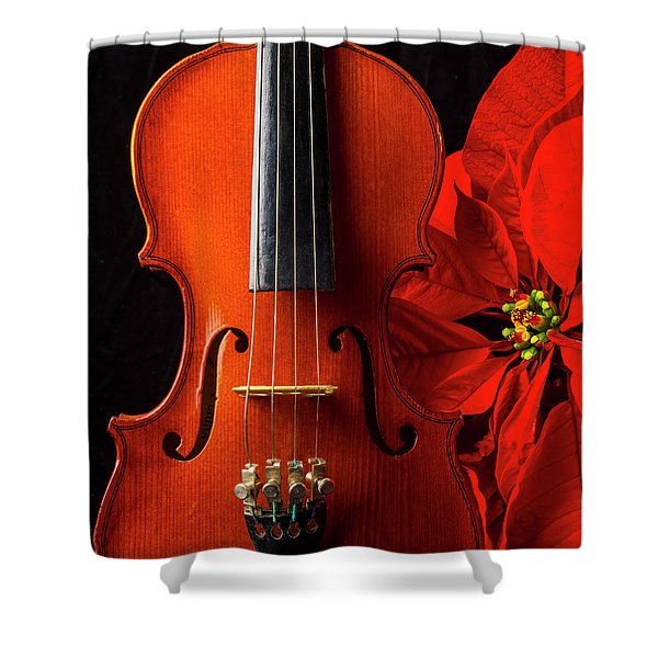 Violin And Poinsettia Shower Curtain