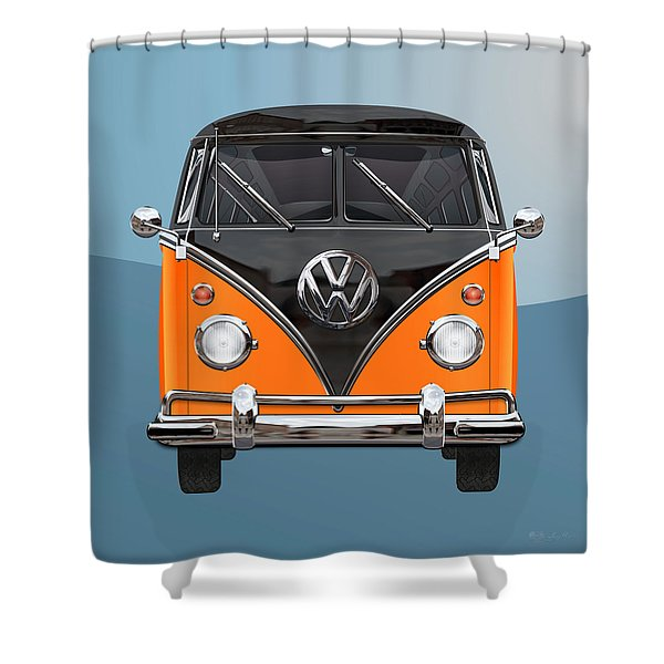Volkswagen Type 2 - Black And Orange Volkswagen T 1 Samba Bus Over Blue Shower Curtain