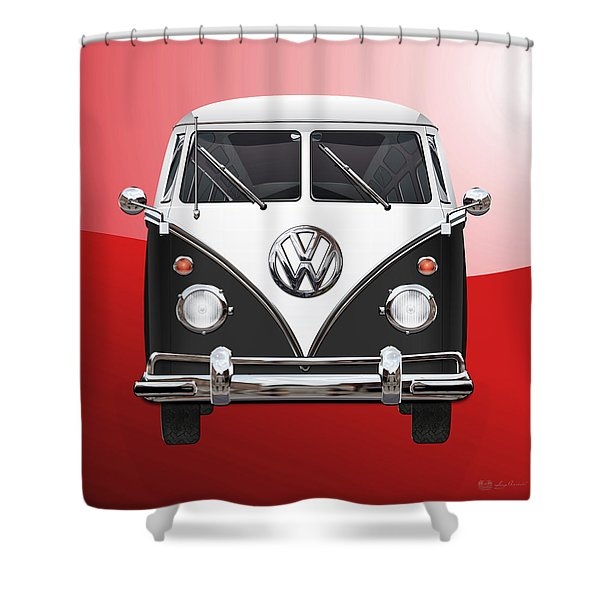 Volkswagen Type 2 - Black And White Volkswagen T 1 Samba Bus On Red  Shower Curtain