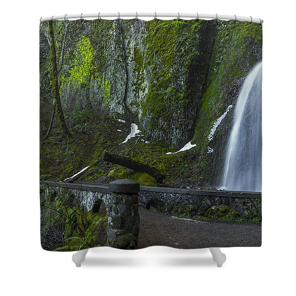 Wahkeena Falls Bridge Signed Shower Curtain