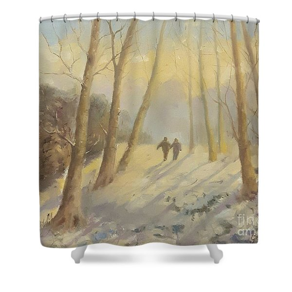 Shower Curtain featuring the painting Walking In Sunshine by Genevieve Brown