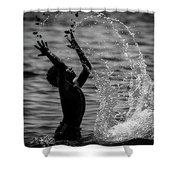 Water And Stones 3 Shower Curtain