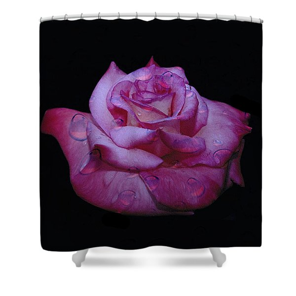 Watered Red Rose Shower Curtain