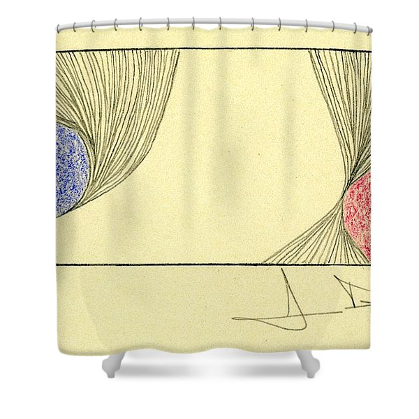Waves Blue Red Shower Curtain