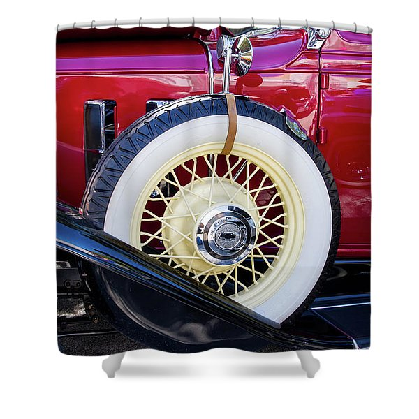 Wide Whitewall Spare Tire Shower Curtain