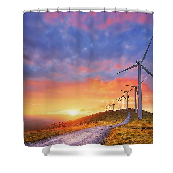 wind turbines in Oiz eolic park Shower Curtain