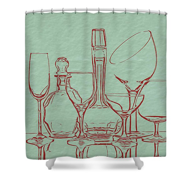 Wine Decanters With Glasses Shower Curtain