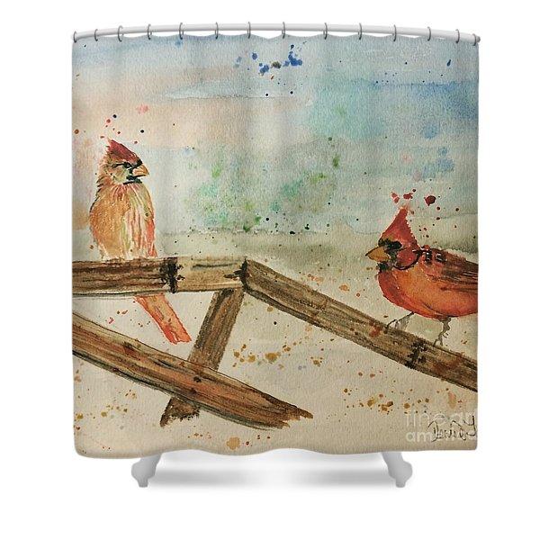 Winter Cardinals Shower Curtain