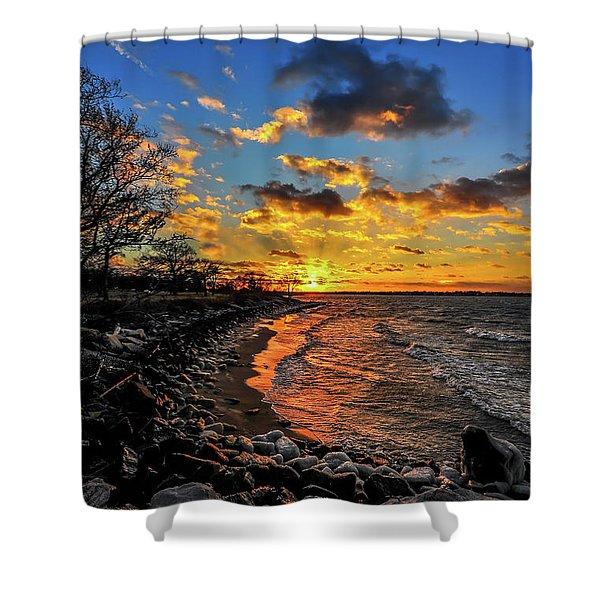 Winter Sunset On A Chesapeake Bay Beach Shower Curtain
