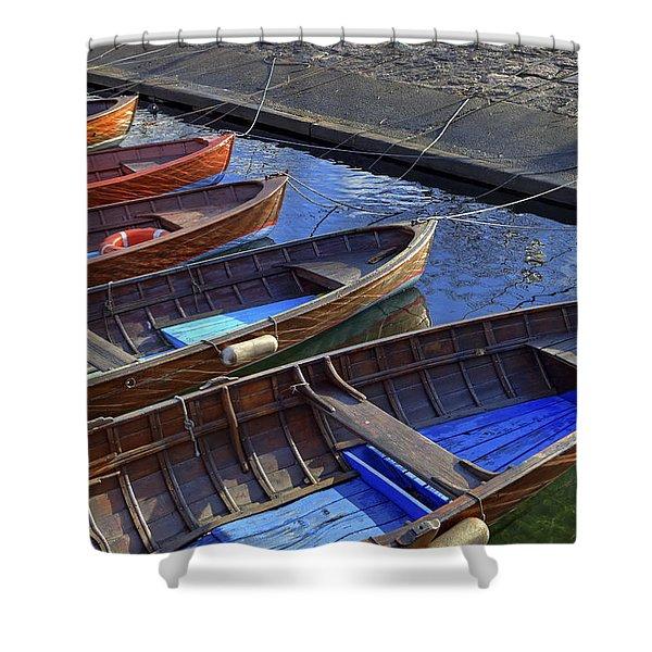 Wooden Boats Shower Curtain by Joana Kruse