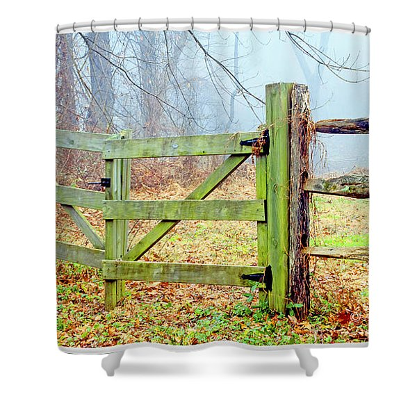 Wooden Fence On A Foggy Morning Shower Curtain