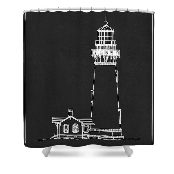 Yaquina Head Lighthouse - Oregon - Blueprint Drawing Shower Curtain