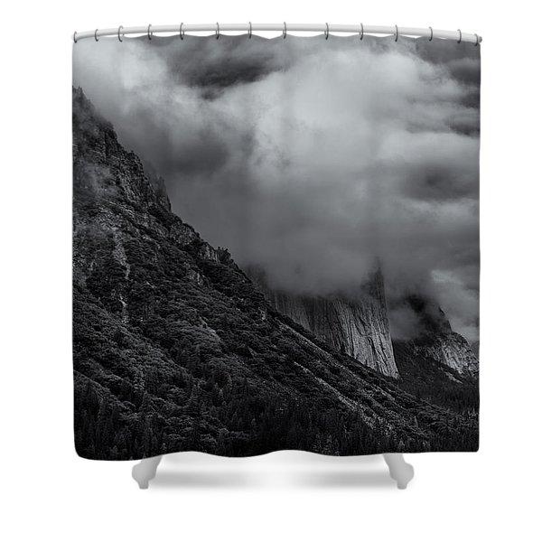 Yosemite Valley Panorama In Black And White Shower Curtain