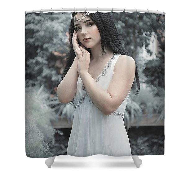 Young Woman At Botanical Gardens Shower Curtain