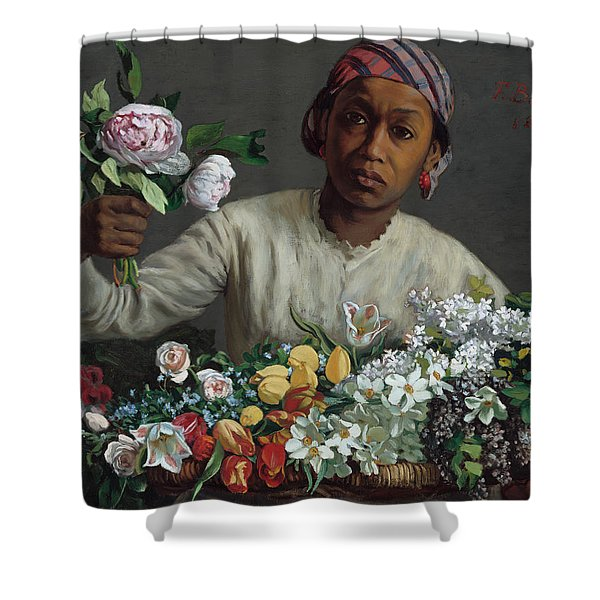 Young Woman With Peonies Shower Curtain