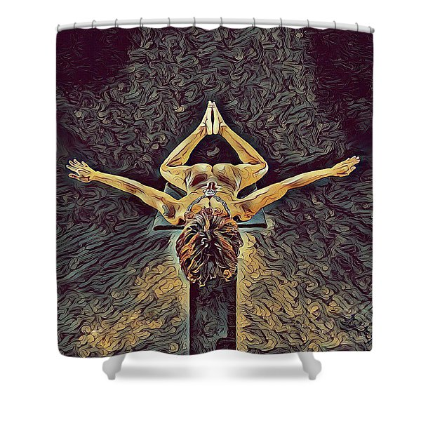 1038s-zac Dancer Flying On Pedestal Nudes In The Style Of Antonio Bravo  Shower Curtain