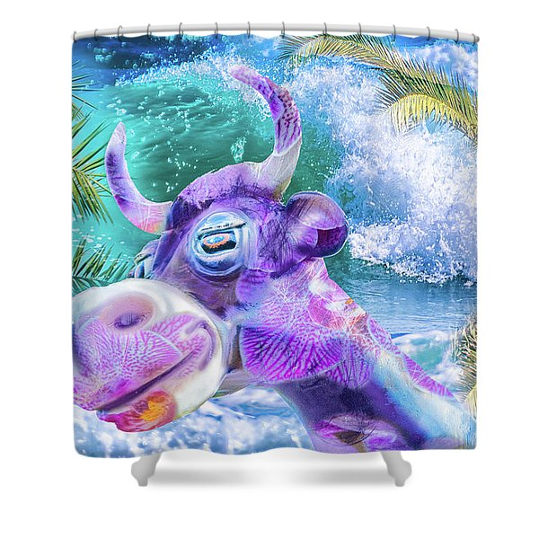 10748 Purple Cow In Paradise Shower Curtain