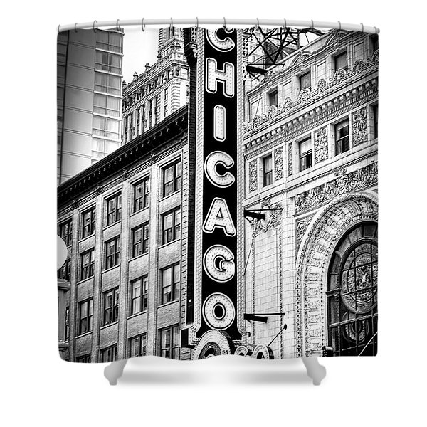 1077 Chicago Theater Black And White Shower Curtain
