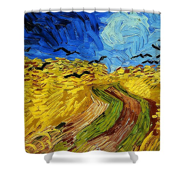 Wheatfield With Crows Shower Curtain
