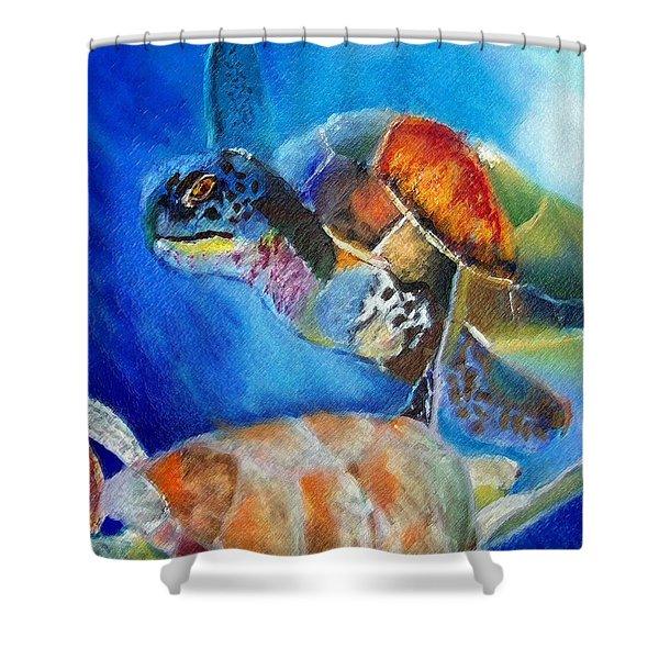 111815 Green Sea Turtle Shower Curtain