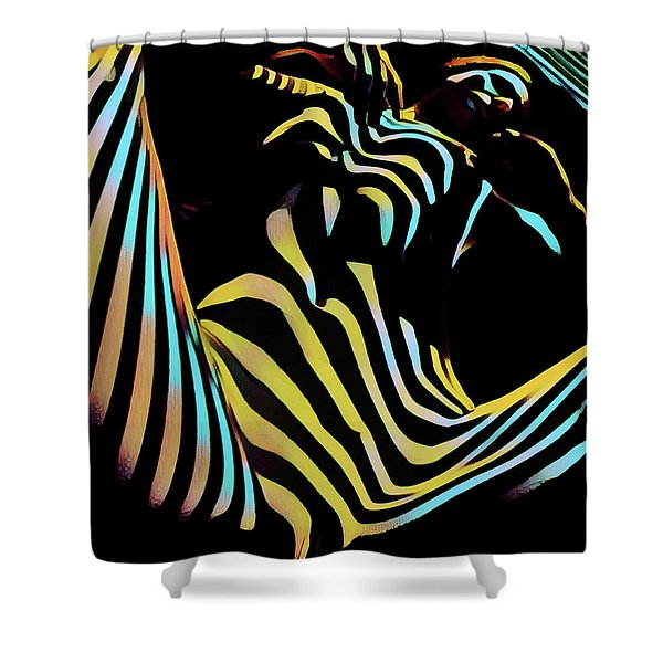 1149s-ak Dramatic Zebra Striped Woman Rendered In Composition Style Shower Curtain