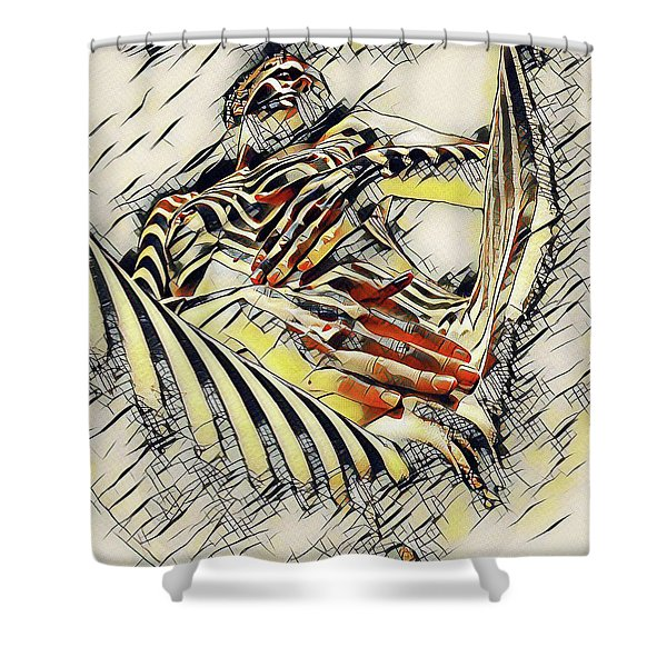 1177s-ak Abstract Nude Her Fingers On Pubis Erotica In The Style Of Kandinsky Shower Curtain