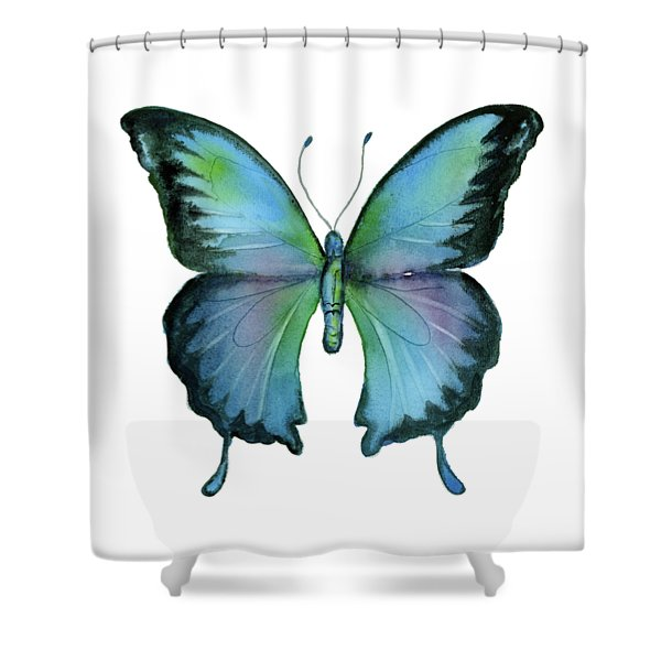 12 Blue Emperor Butterfly Shower Curtain