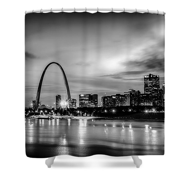 Shower Curtain featuring the photograph City Of St. Louis Skyline. Image Of St. Louis Downtown With Gate by Alex Grichenko