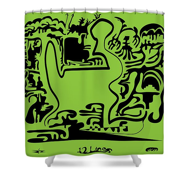 12 Lines Shower Curtain