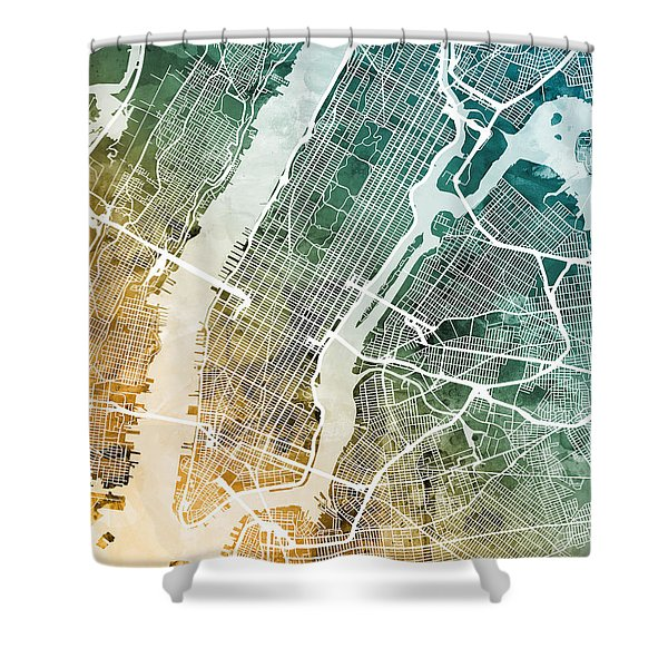 New York City Street Map Shower Curtain