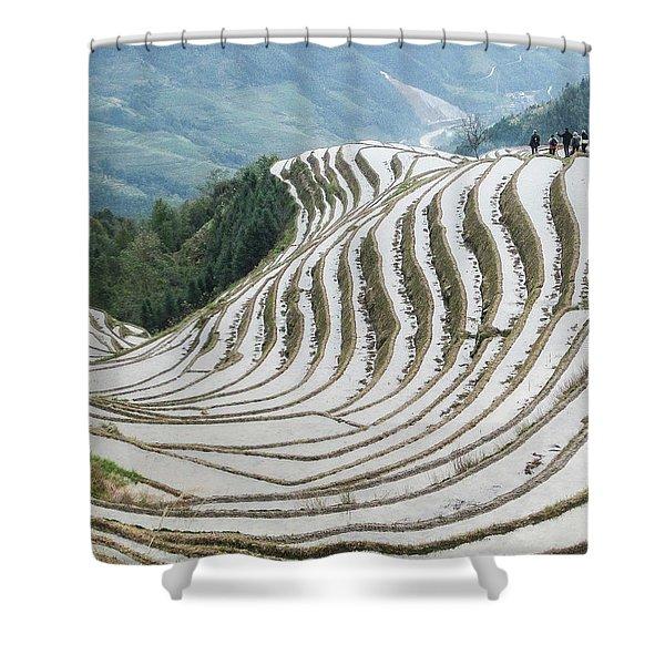 Terrace Fields Scenery In Spring Shower Curtain