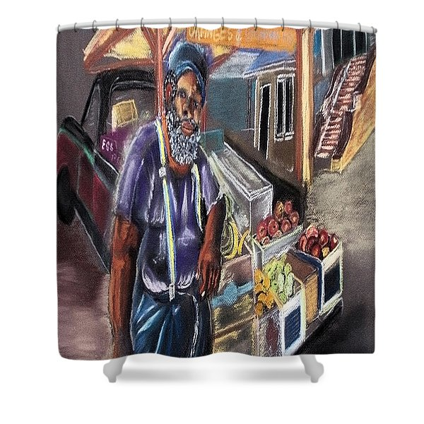 121815 Vegetable Vendor Shower Curtain