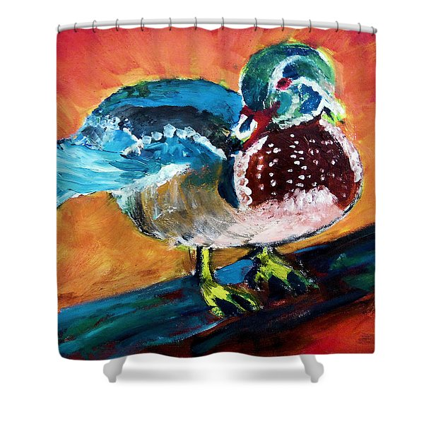 122215 Male Wood Duck Shower Curtain