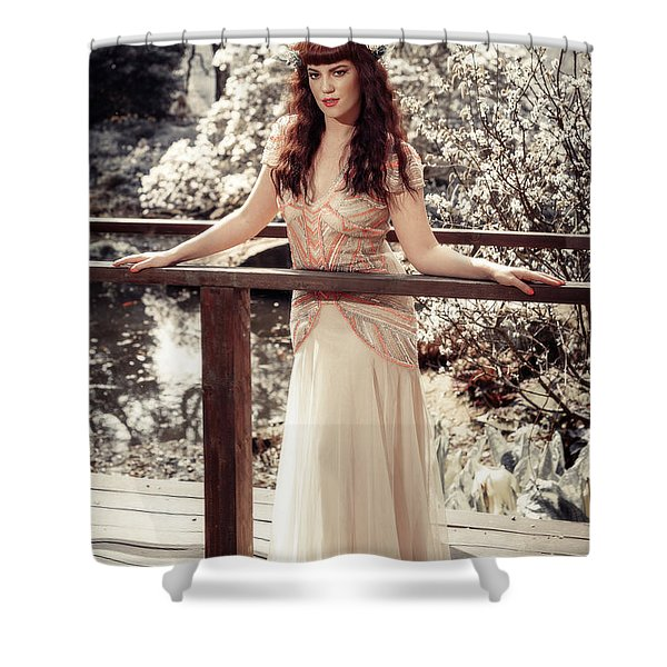 Woman In Spring Blossom Shower Curtain
