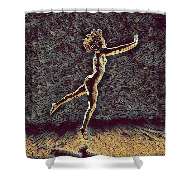 1302s-zak Naked Dancers Leap Nudes In The Style Of Antonio Bravo Shower Curtain