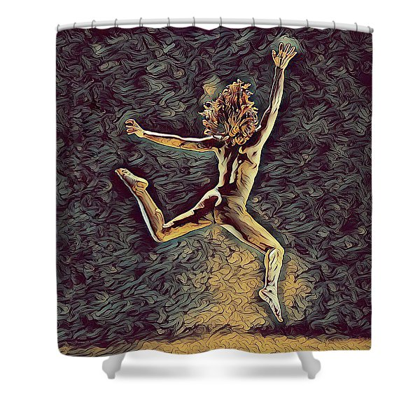 1307s-dancer Leap Fit Black Woman Bare And Free Shower Curtain