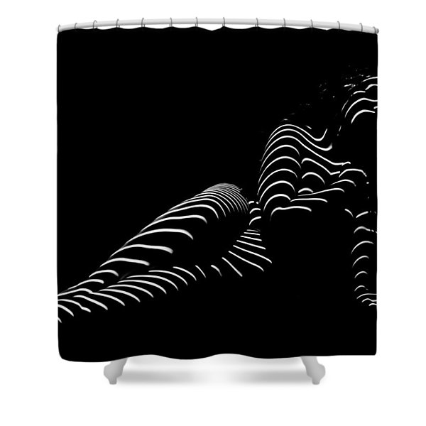 1370-tnd Zebra Woman Striped Woman Black And White Abstract Photo By Chris Maher Shower Curtain